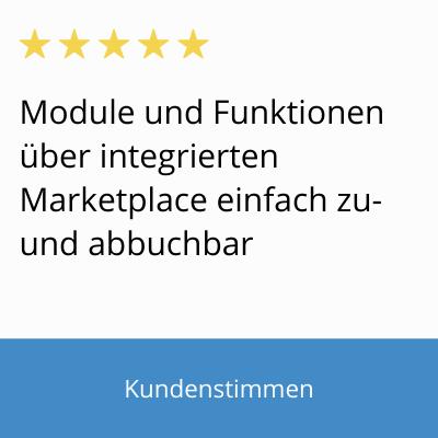 Bild mit Text von Kundenstimme: Module und Funktionen lassen sich über den integrierten Marketplace in FLOWWER einfach hinzubuchen oder abwählen